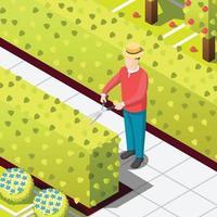 jardinier employé travailleur illustration vectorielle fond isométrique vecteur