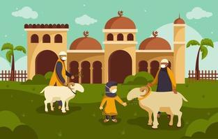 amusant eid al adha avec du bétail vecteur