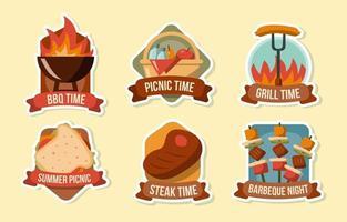 badge pique-nique et barbecue vecteur