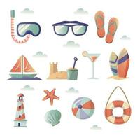 collection d & # 39; icônes de plage d & # 39; été vecteur