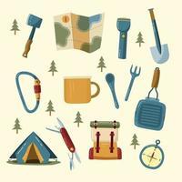 collection de jeux d & # 39; icônes de camping vecteur