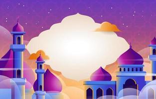 fond de mosquée au coucher du soleil moderne vecteur