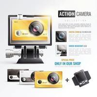 illustration vectorielle d & # 39; action caméra affiche vecteur