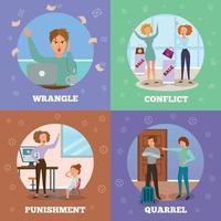 personnages en colère 4 icônes concept illustration vectorielle vecteur