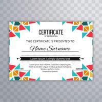 Vecteur de modèle de certificat créatif coloré moderne