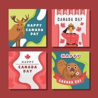 ensemble de cartes de voeux pour la fête du canada vecteur