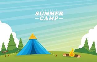 concept de terrain de camping d'été vecteur