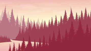 forêt de pins rose avec fond de paysage de rivière concept brumeux et brouillard vecteur
