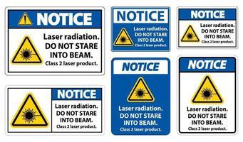 Remarquez que le rayonnement laser ne regarde pas le produit laser de classe 2 faisceau signe sur fond blanc vecteur