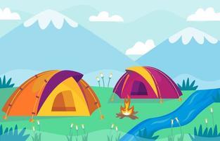 terrain de camping landcsape fond vecteur