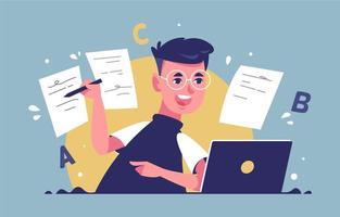 enfants heureux faisant l'école en ligne vecteur
