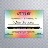 Arrière-plan du modèle de certificat coloré abstrait