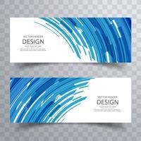 Abstrait créatif lignes bleues bannières scénographie vecteur