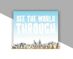 Voyagez dans le monument du monde avec le texte de voir le monde à travers - conception de vecteur de bammer.