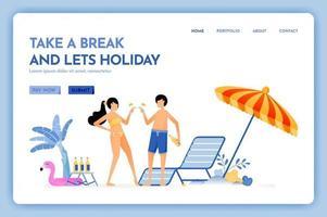 site Web de voyage avec le thème de prendre une pause et de laisser des vacances, un service amusant de voyage de vacances à la plage pour la conception de vecteur de couple peut être utilisé pour des affiches, des bannières publicitaires