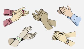 Illustration vectorielle de main applaudissant Pose Hand Drawn