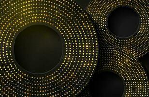 fond élégant de luxe avec élément de cercle or brillant et particule de points sur une surface métallique noire foncée vecteur
