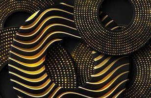 fond réaliste 3d de luxe avec forme de cercle d'or vecteur