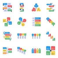 icônes plates de visualisation de données vecteur