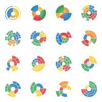 variété de diagrammes visuels sunburst vecteur