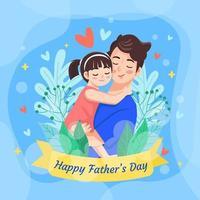 père tient et porte sa fille avec plein d'amour vecteur