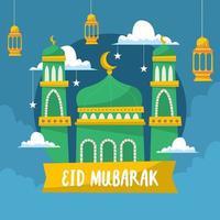 fond de mosquée eid mubarak vecteur