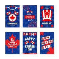 collection de cartes de voeux de la fête du canada vecteur