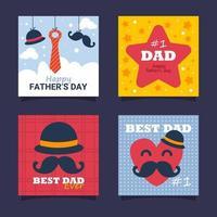collection de cartes de voeux fête des pères vecteur