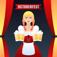 Fille allemande serveuse en vêtements traditionnels tenant bière jaune tasses Vector Illustration colorée