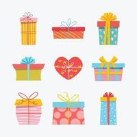 collection d'icônes de boîte cadeau dessinés à la main coloré vecteur