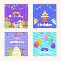 collection de cartes de voeux joyeux anniversaire vecteur
