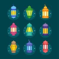ensemble d & # 39; icône de lanterne eid vecteur