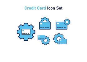icône sertie de symbole de carte de crédit. concept d'ajustement financier. illustration vectorielle, concept d'icône de vecteur. vecteur