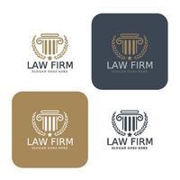 logo de droit, cabinet d'avocats, cabinet d'avocats, logotype de droit, modèle d'identité d'entreprise. vecteur