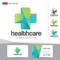 conception de logo médical soins de santé ou hôpital et modèle de carte de visite, modèle propre et moderne vecteur