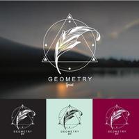 création de logo de plumes avec fond géométrique. vecteur
