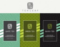ensemble de vecteurs de modèles d'emballage thé, logo, étiquette, bannière, affiche, identité, image de marque. design élégant pour le thé noir - thé vert - thé blanc - thé oolong vecteur