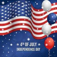 4 juillet, jour de l'indépendance, drapeau américain, concept vecteur