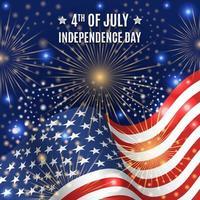 Fête de l'indépendance du 4 juillet avec feux d'artifice et drapeau vecteur