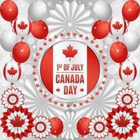 concept de fête de la fête du canada avec des ballons et des ornements en papier vecteur