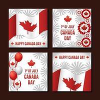 collection de cartes de fête de la fête du canada vecteur