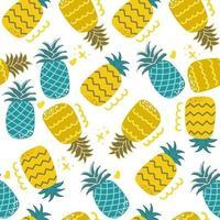 modèle sans couture d'ananas dessiné à la main mignon et amusant conception de crèche illustration plat moderne vecteur