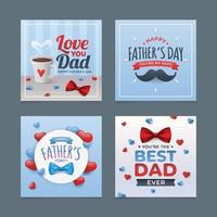 ensemble de cartes de voeux pour la fête des pères vecteur