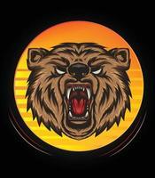 illustration de tête d'ours logo avec rugissement en couleur pour la conception de t-shirt, mascotte d'ours en colère vecteur