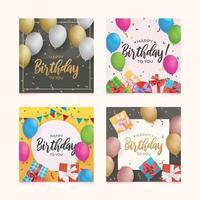 ensemble de carte d'anniversaire avec ballon et coffret cadeau vecteur