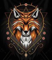 vecteur visage animal renard avec fond ornement celtique. design élégant pour t-shirt, vêtements, vêtements