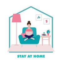 rester à la maison concept, fille assise sur un fauteuil et illustration de travail vecteur