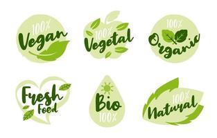 ensemble de logos de mode de vie sain et naturel vecteur