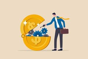 la liquidité financière ou monétaire pour aider à la relance économique, la politique monétaire de la banque centrale pour aider à lubrifier le concept d'économie, l'homme d'affaires a mis de l'huile lubrifiante sur l'engrenage de la machine d'ouverture de la pièce d'un dollar en argent. vecteur