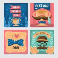 carte de voeux fête des pères avec élément décoratif vecteur